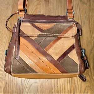 Fossil leather 70s  crossbody bag built in wallet